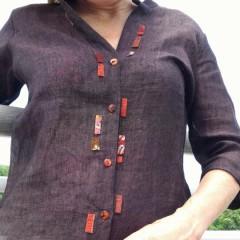 Camicia di lino con inserti stoffe del Giappone-India-Tailandia